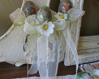 Easter Egg wands vintage style Easter bunnies Cottage style floral Easter gifts gift basket filler eggs decor green ivory home decor