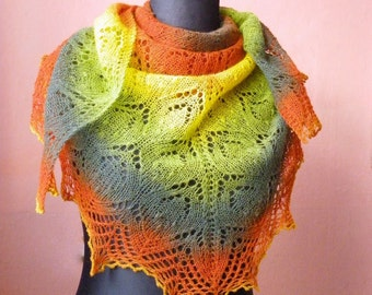 Large hand knitted  woolly lace triangular shawl from Kauni fall color yarn, original design