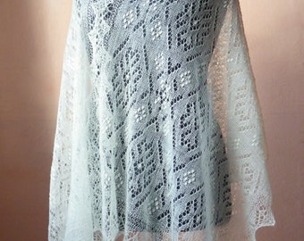 Hand knitted natural white Haapsalu shawl Muhu Summer, traditional Estonian lace shawl- CUSTOM MADE