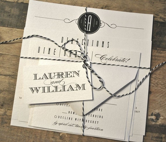 Bakers Twine Wedding Invitation: Items Similar To Wesson Vintage Wedding Invitation Suite