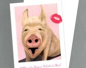 Funny Valentine Card - A Hog and a Kiss Pig Valentine Card -  Animal Valentine Card - Valentines Day Pig Card - 10%  Benefits Animal Charity