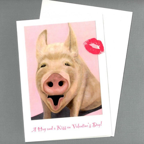 items similar to funny valentine card a hog and a kiss pig valentine card animal valentine card valentines day pig card 10 benefits animal charity - Valentine Pig