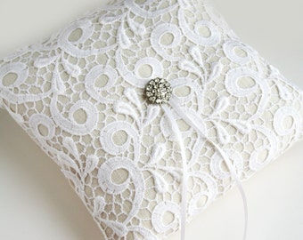 Lace Ring Pillow, White Ring Bearer Pillow, Ring Cushion