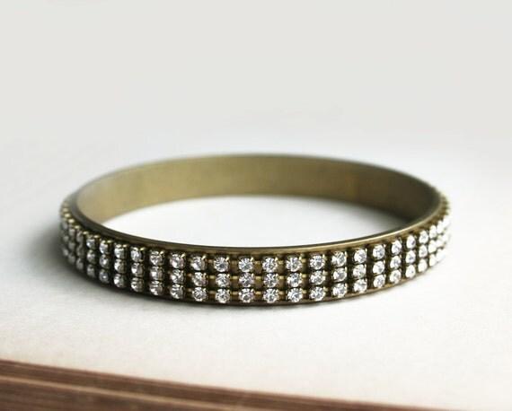 Rhinestone Bangle, Brass Bracelet, Wedding Jewelry