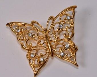 Butterfly Brooch Vintage Rhinestone Butterfly