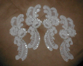 Lot of 4  Beaded Alencon Lace Appliques