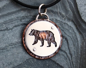 Black Bear pendant, sterling silver, copper, hand made, every day wear, rustic, wild, nature,