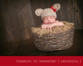 Baby Bear Hat with Bow, Photography Prop
