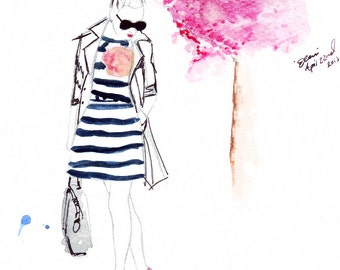 Watercolour fashion illustration Titled In Bloom