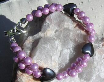 "Crystal Gemstone Bracelet, Hematite Heart & Pink Shell Pearl ""Carnation"", shell bracelet, pink bracelet, chakra bracelet, black bracelet"
