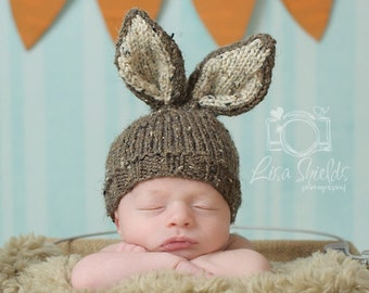 Bunny Hat Knit Newborn Baby, Easter Rabbit, Knitted Photo Prop, Barley Brown with Oatmeal Inner Ears, Custom colors avail, NB 0-3 Mo.