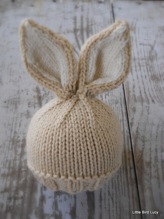 Bunny Ears Knitting Pattern : Knit Baby Bunny / Newborn Hat Easter Rabbit by LittleBirdLucy