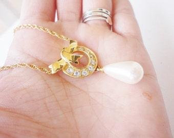 vintage elegant necklace with rhinestones and pearl drop