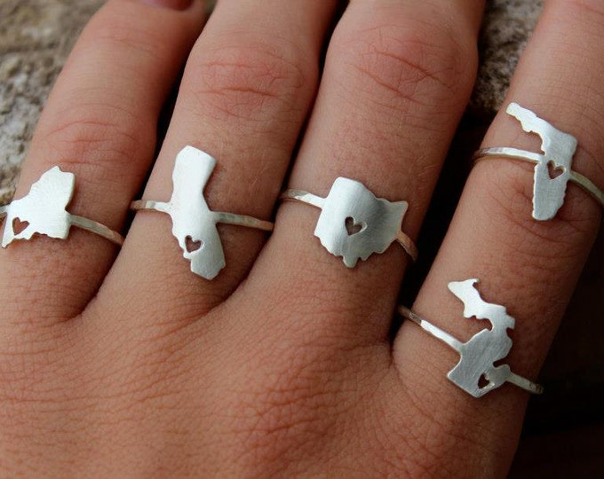 6 Bridesmaid Gifts - Any State Love Ring