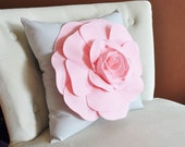 Light Pink Rose on Light Grey Pillow 14x14