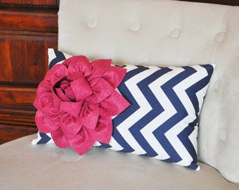 Chevron Lumbar Pillow Raspberry Dahlia on Navy Blue and White Zig Zag Lumbar Pillow 9 x 16