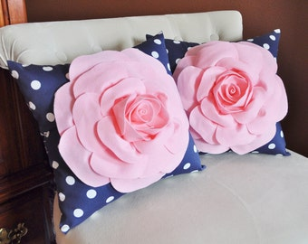 SET OF TWO Decorative Rose Pillows -Light Pink Roses on Navy and White Polka Dot Pillows 14 X 14