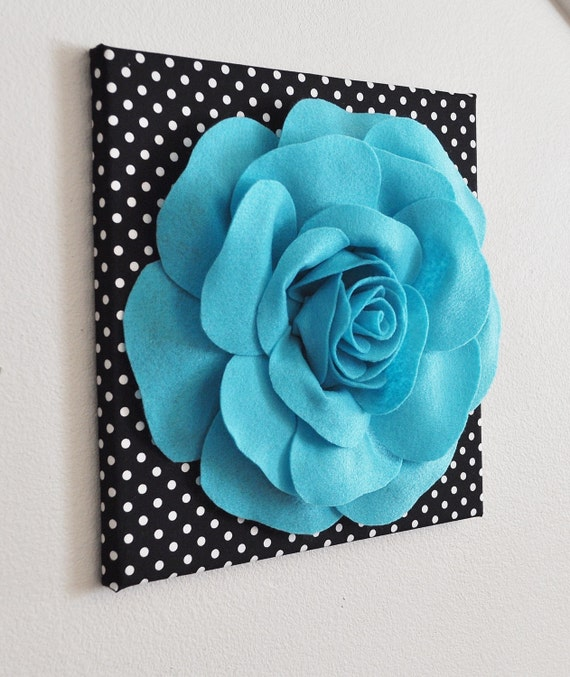Flower wall decor light turquoise rose on black and white for 3d canvas ideas