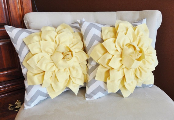 TWO Decorative Pillows for Couch, Chair, Living Room Decor -Light Yellow Dahlia and Gray and White Chevron14 X 14