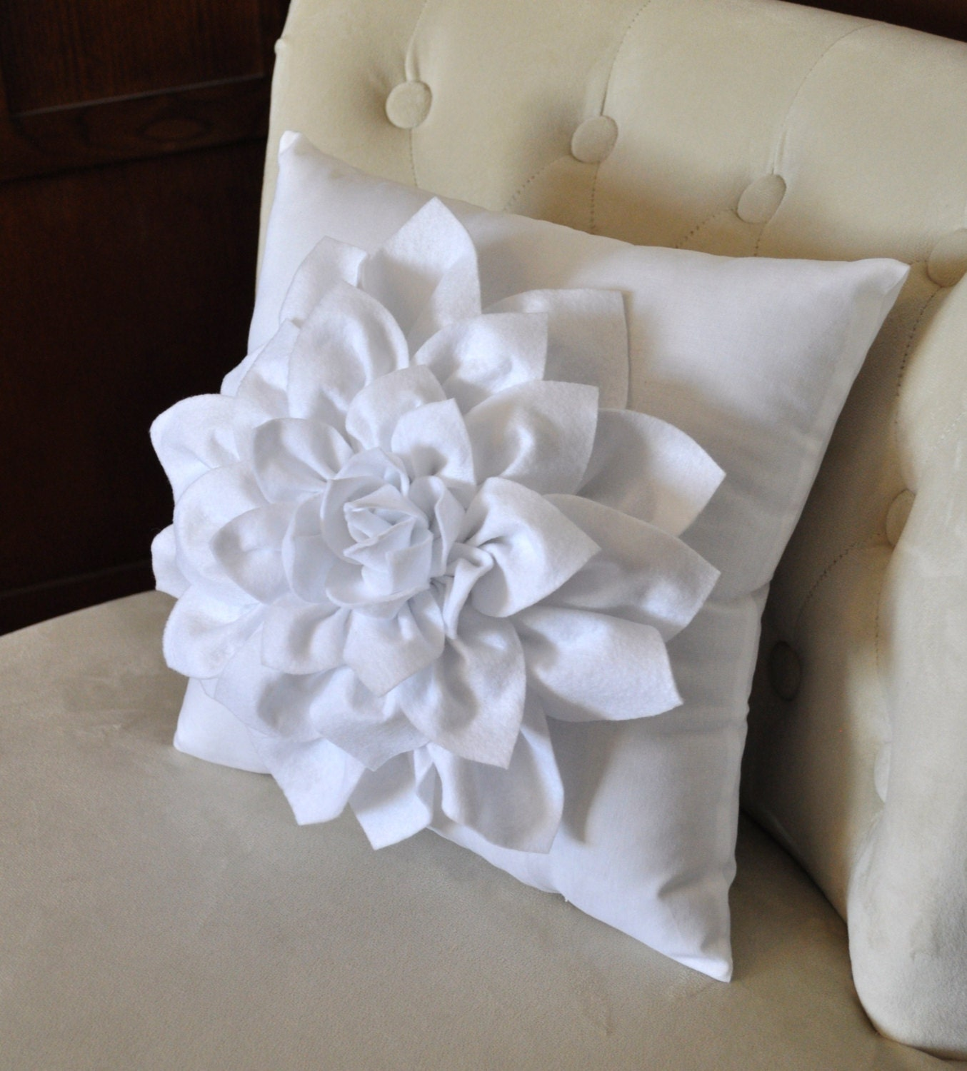 Decorative Pillows Flowers : Dahlia Felt Flower on White Pillow Mum Flower