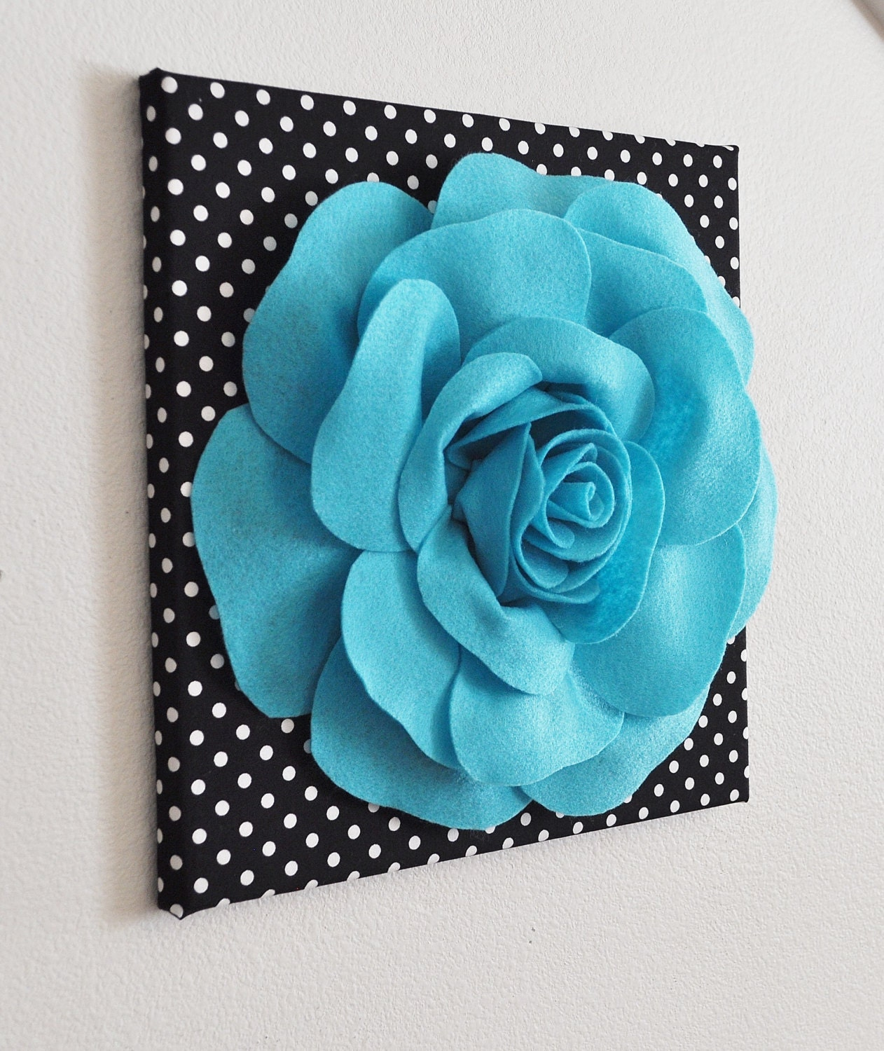 Items Similar To Teal Purple Abstract Flowers Wall Decor: Flower Wall Decor Light Turquoise Rose On Black And White