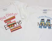 Big Sister Shirt and Little Brother Shirt - Personalized Initial Applique