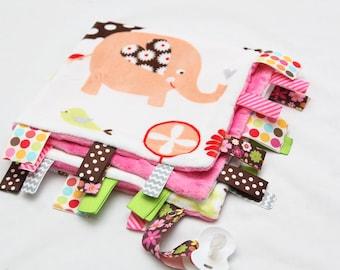 Baby Ribbon Tag Blanket - Minky Binky Blankie - Elephants Everywhere - LAST ONE