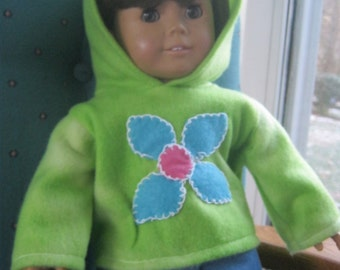 18 Inch Doll clothes, hoodie and jeans, green sweatshirt and jeans for 18 inch doll