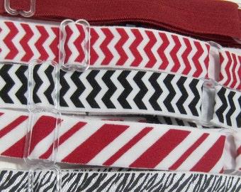 Adjustable Elastic Headband Hair Band Girl Baby Woman Headband Sport Headband- 5 In Set Red & Black