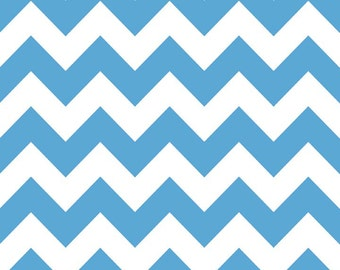 SALE, Medium Chevron in Medium Blue, Chevron Fabric by Riley Blake, 1 Yard