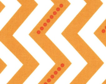 Dotted Zig Zag in Sweet Tangerine, Simply Color Collection by Vanessa & Co for Moda Fabrics, Dotted Chevron, 1 Yard