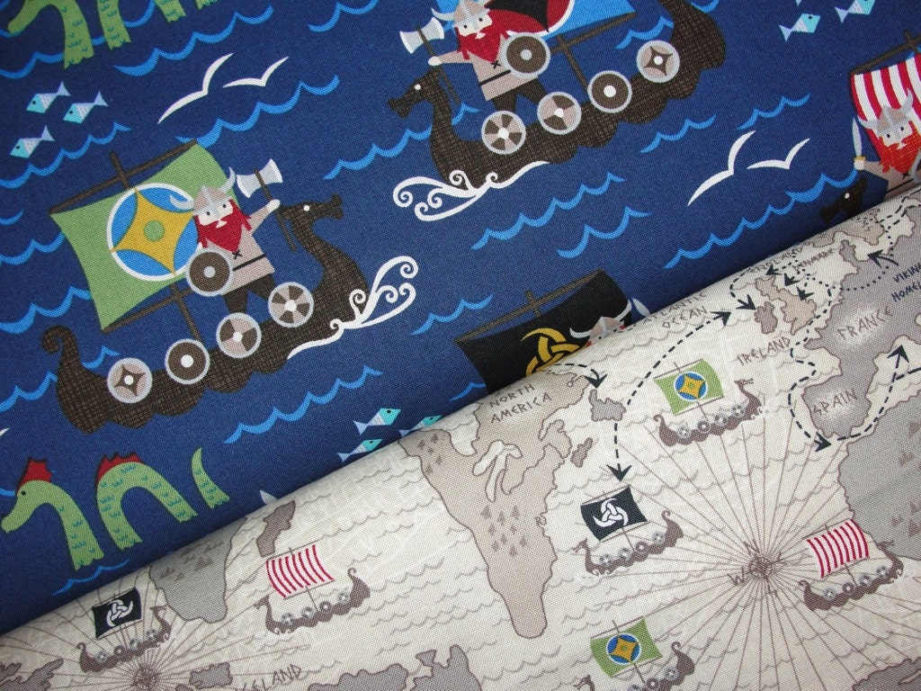 Viking fabric duo from michael miller fabrics and timeless for Space themed fabric