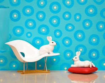 Eames lounge chair print, mid century modern diorama, white rabbits: Rabbits At Rest