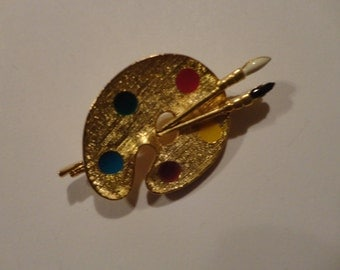 Vintage Artist / Paint Pallet Pin Signed NewView  Gold tone & Enamel