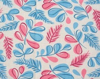 Vintage Feedsack Floral Feed Sack Flour Sack Fabric Pink Turquoise Leaves 37 x 44 inches