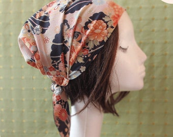 Japanese Fabric head covering, cooking head scarf, adult headwrap, Head covering scarf Japanese kimono print Navy, Pink Floral, chemo scarf
