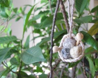 Miniature Knit Basket Ornament, Yarn & Knitting Needles Ornament, Fiber Textile Artist Knitter Handspinner Mom Aunt Sister Grandma Gift Idea