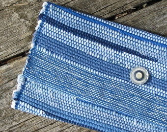 Casual Boho Blue Woven Hand Bag Vacation Travel Envelope Clutch Purse, Summer Coastal Seaside Cottage Chic Recycled Upcycled Rag Wristlet