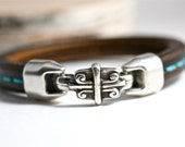 Turquoise Stitched Leather Bangle Funky Hardware Hook Men's Leather Bracelet Dude Unisex Fathers Day Gift