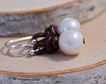 White Pearl Earrings Leather Earrings Gift For Her White Earrings Organic Earrings Resort Jewelry St Barth Leather Jewelry Under 30