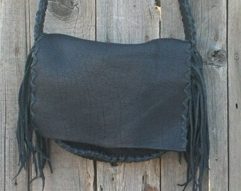 Black leather handbag , Handmade purse , Leather possibles bag