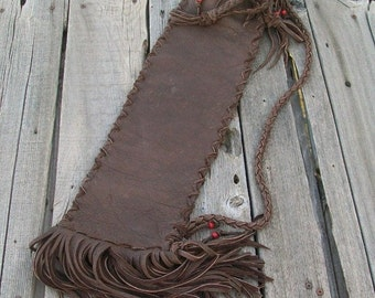 Fringed leather flute bag , Leather flute case with shoulder strap