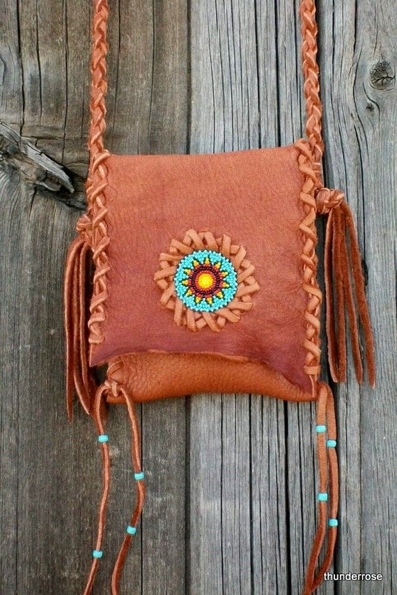 Beaded leather handbag ,  Phone bag ,  Buckskin leather crossbody tote with beaded sunflower rosette