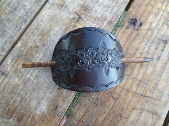 Leather Hair Stick  with Tooled Geometric Design