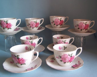 Vintage Never Used Cup & Saucer 8 Piece Lot - Two tone Pink Rose, Some with original Penneys Price Tag