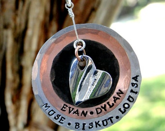 """Hand stamped Mothers necklace - """"Angelie"""""""
