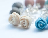 EL PASO Peony Porcelain and Sterling Silver Stud Earrings , White, Ecru,Sky Blue, Turquoise, Gray, Purple, Coral