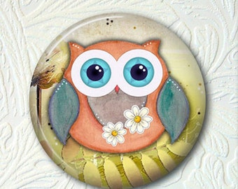 Pocket Mirror Owl - 2.25 Inch - Comes With A Velour Pouch - Buy 3 Get 1 Free    333