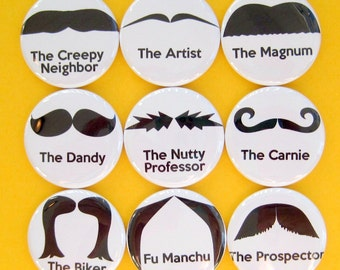 Mustache Magnets - Set of Nine 1.25 Inch Button Magnets Packaged in a Custom Box
