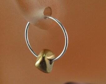 small SILVER hoops / STERLING SILVER /  argentium silver sleeper / small earrings  / brass  / kids jewelry   No.00E188
